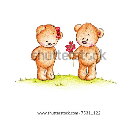 a couple of cute teddy bears on white background - stock photo