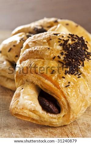 A couple of delicious chocolate croissants