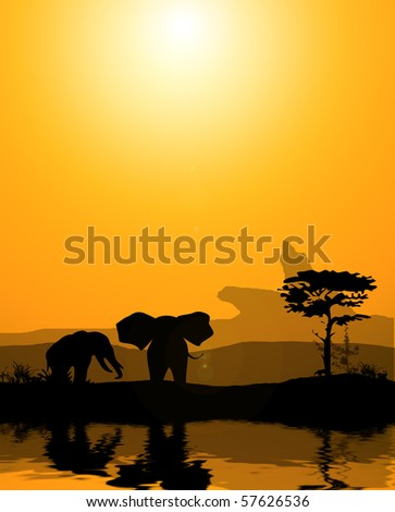 a couple of elephants near to water source in savanna desert - illustration - stock photo