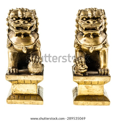 a couple of golden chinese guardian lions isolated over a white background