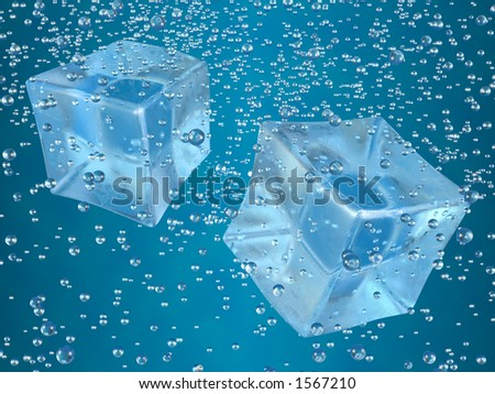 A couple of ice cubes swimming in blue drink. Photorealistic 3D rendering. - stock photo