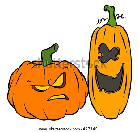 A couple of jack-o-lanterns. One's not so bright.
