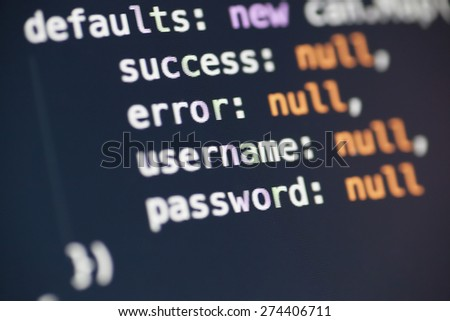 A couple of javascript lines - stock photo