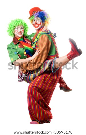 A couple of joyful clowns. Isolated on white - stock photo