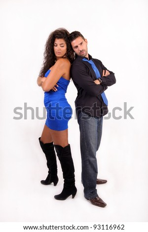 A couple of lovers upset back to each other - stock photo