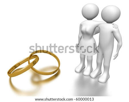 A couple of man and woman embracing and looking at two rings. Love concept. - stock photo