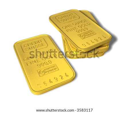 a couple of one ounce gold bars isolated on white - stock photo