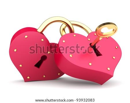 a couple of padlock  locked hearts - stock photo