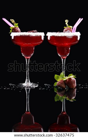 A couple of Strawberry Margaritas - stock photo
