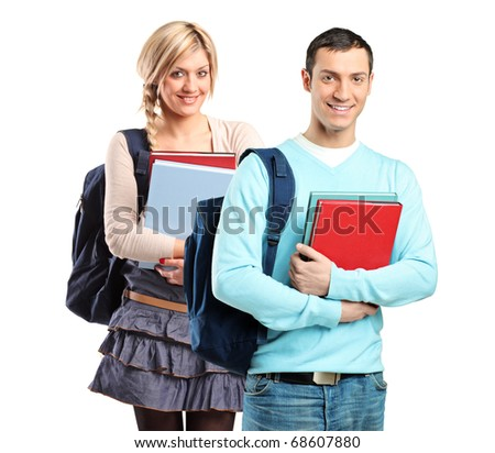 A couple of student holding books isolated on white background
