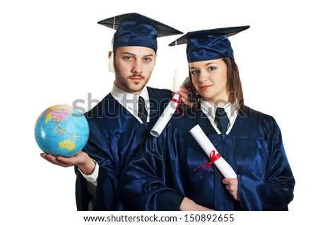 A couple of two students (male and female) in graduation caps and gowns standing with a certificate and a globe in their hands. Isolated on white - stock photo