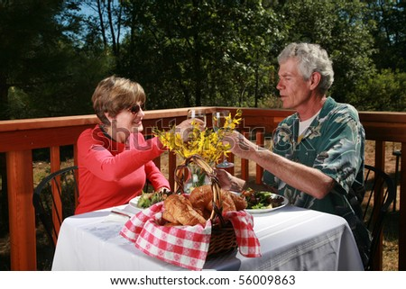 """a couple toast a glass of wine at an outdoor cafe or """"bed and breakfast"""" - stock photo"""