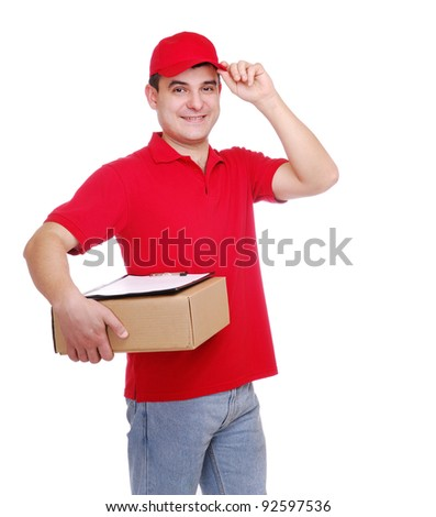 A courier holding the box and the tablet over the white background - stock photo