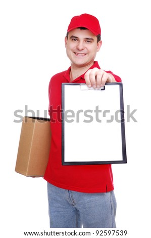A courier holding the box and the tablet over the white background
