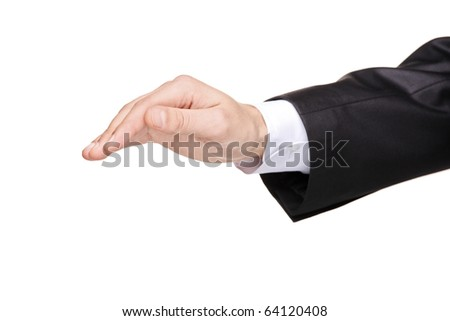 A covering hand isolated on white background