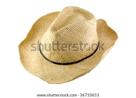 A cowboy hat isolated on white background, horizontal with copy space - stock photo