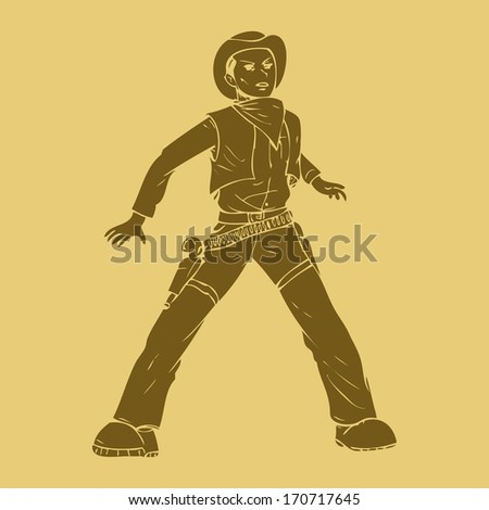 A cowboy ready for a duel in carved style illustration