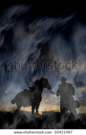 A cowboy with his horse in the sunset and wind
