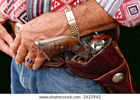 A cowboy with the colt - stock photo