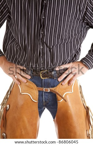 A cowboys half of  a body standing with his hands on his hips. - stock photo