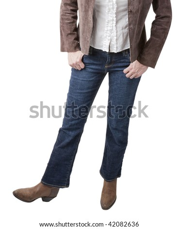 A cowgirl kicks up her heels and demonstrates the Texas Two-Step - stock photo
