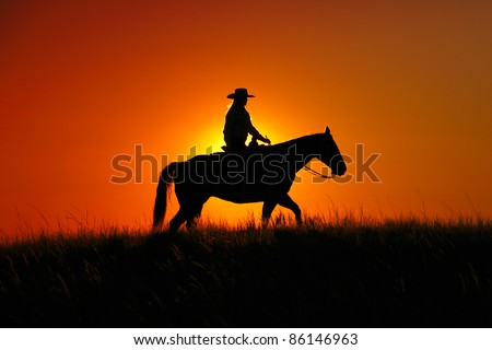 A cowgirl riding a horse in the middle of a grassy field on a ranch is silhouetted against the afternoon sun. - stock photo