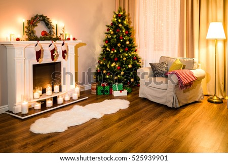A Cozy Living Room Full Of Warm Light From Decorations For A Coming  Christmas, Nice