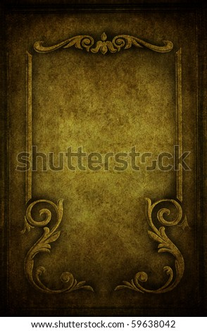A cracked grunge concrete background with vintage frame - stock photo