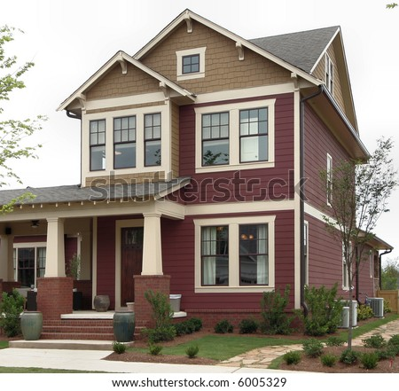 A craftsman-style home in the suburbs. - stock photo