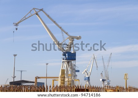 a crane on one of the world's largest shipyard