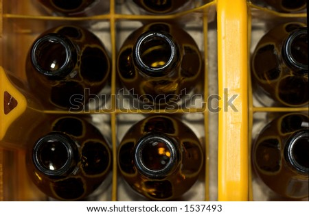 A crate of beer bottles ready for recycling