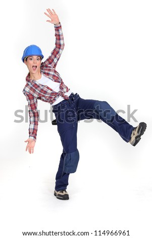 A crazy construction worker. - stock photo
