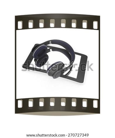 a creative cellphone with headphones isolated on white, portable audio concept. The film strip - stock photo