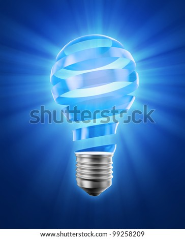 A creative concept illustration - a spiral glass strip forming a lightbulb - stock photo
