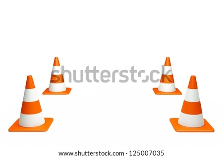 a creative 3d render of road cone - stock photo