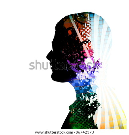 A creative montage of a side profile silhouette of a man wearing glasses and colorful artistic accents inside of his mind and body. - stock photo