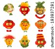 A creative set of food concepts. A few  funny portraits from vegetables and fruits. - stock photo