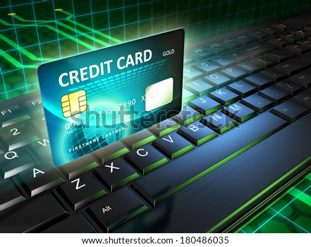 A credit card as an on-line payment tool. Digital illustration. - stock photo