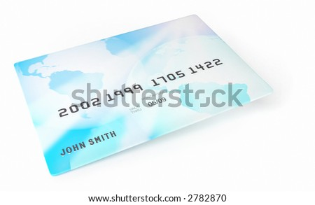 A credit card isolated on white background.