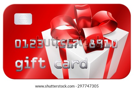 A credit card style gift card illustration with a white gift or present with red bow or ribbon