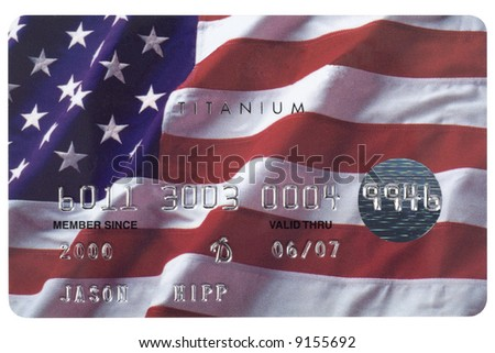 A credit card with the American flag on it shot straight on. Numbers are fake.
