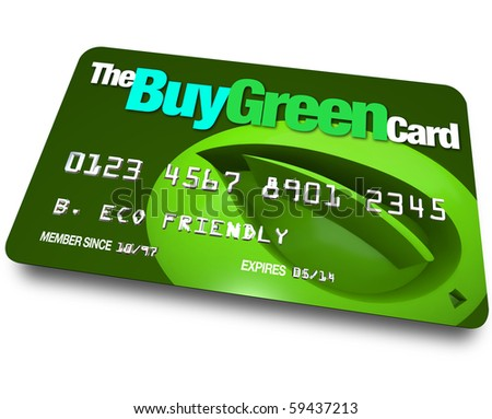 A credit card with the name Buy Green with a background of a leaf symbolizing environmentally friendly choices