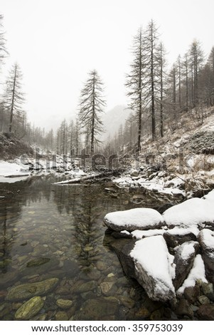 A creek in a winter mountain landscape covered with fresh snow