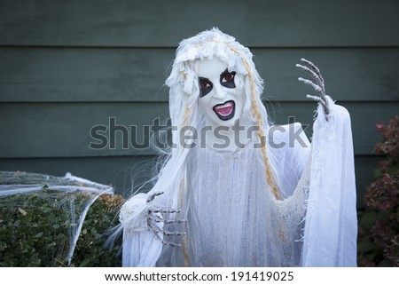 A creepy Halloween ghoul decoration