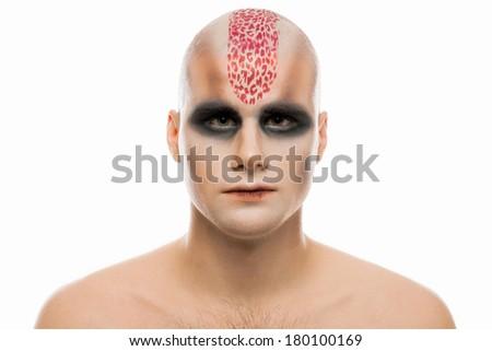 A creepy portrait with body art - stock photo