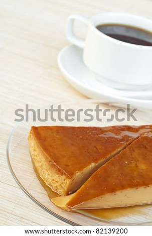 a creme caramel and coffee - stock photo