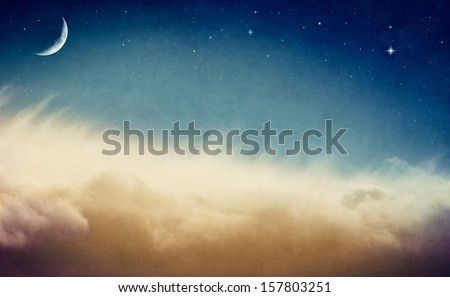 A crescent moon and stars rising above misty fog and clouds.  Image is done in retro colors and exhibits a pleasing paper grain and texture at 100 percent.