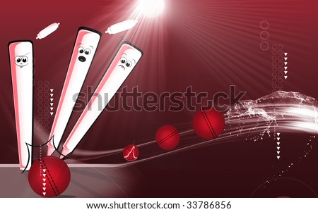 A cricket ball is hitting the stumps - stock photo