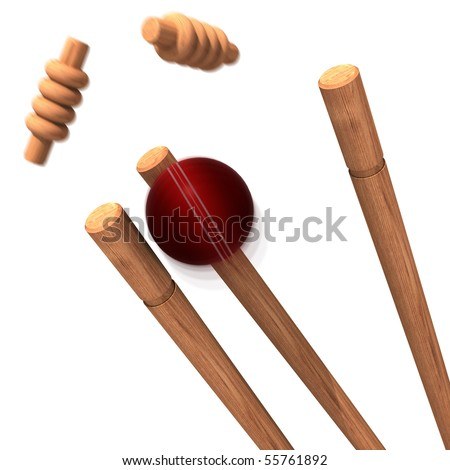 a cricket ball striking bails - stock photo