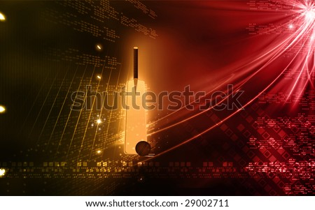 A cricket bat and stitched cricket ball placed in floor - stock photo